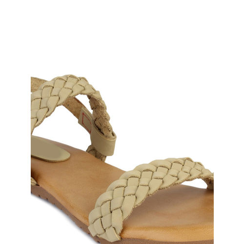 Shoetopia Women Cream-Coloured Woven Design Synthetic Open Toe Flats