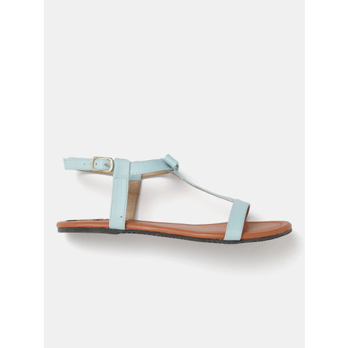 GNIST Blue Solid Open-Toed Flats Sandals