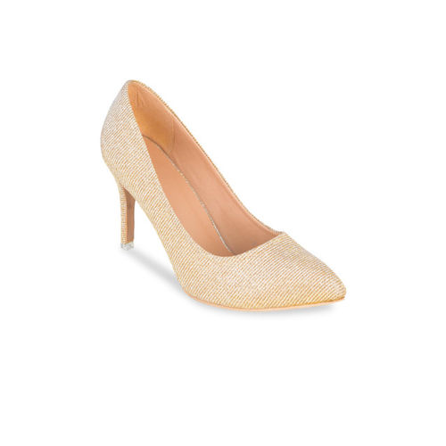Sherrif Shoes Women Gold-Toned Woven Design Pumps