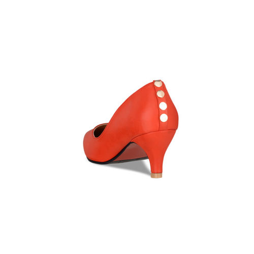 Sherrif Shoes Women Coral Red Solid Pumps