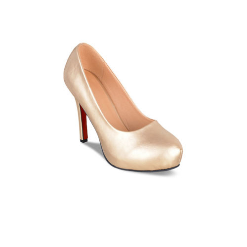 Sherrif Shoes Women Gold-Toned Solid Pumps