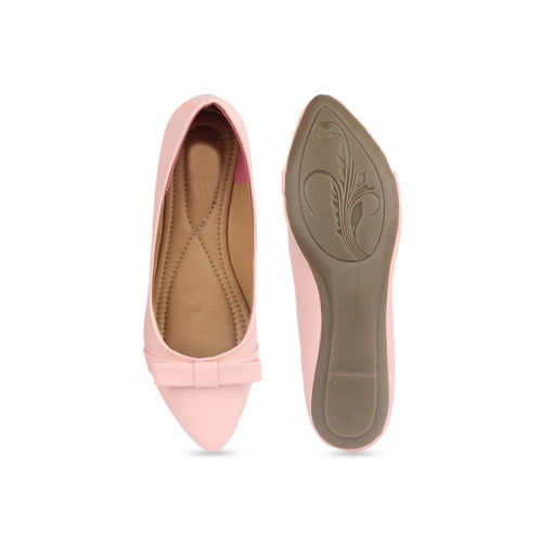 Shoetopia Women Pink Solid Synthetic Ballerinas