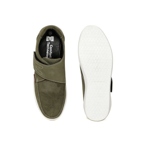Red Chief Men Olive Green Slip-On Leather Sneakers