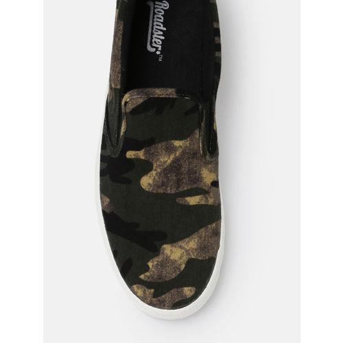 Roadster Men Olive Green Slip-On Sneakers