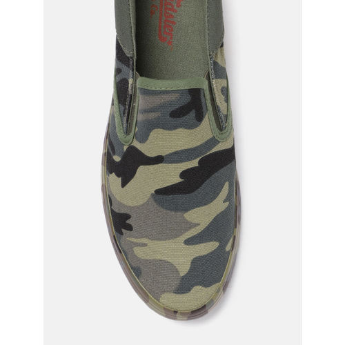 ee5c1ec0b906f Buy Roadster Men Green Camouflage Print Slip-On Sneakers online ...