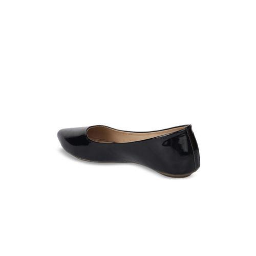 Shoetopia Women Black Solid Synthetic Ballerinas