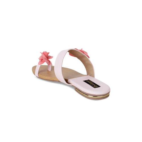 Shoetopia Women Pink Solid Synthetic One Toe Flats