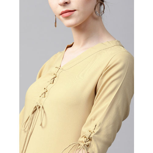 GERUA Beige & Mustard Yellow Cotton Solid Kurta with Palazzos