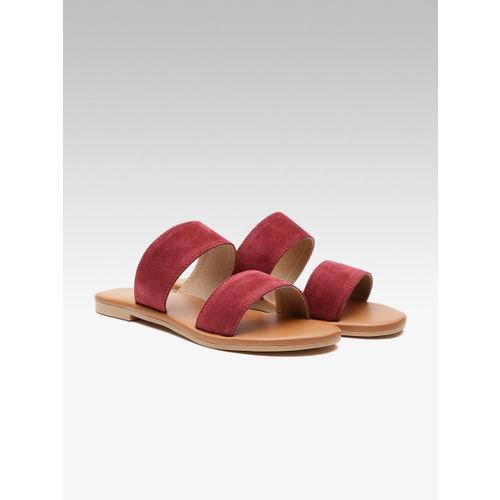 Street Style Store Women Maroon Solid Open Toe Flats