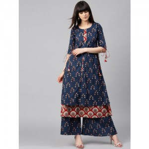 GERUA Navy & Red Printed Kurta with Palazzos