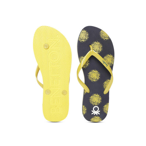 United Colors of Benetton Women Yellow & Navy Blue Printed Thong Flip-Flops
