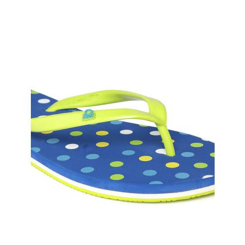 United Colors of Benetton Women Green & Blue Printed Thong Flip-Flops