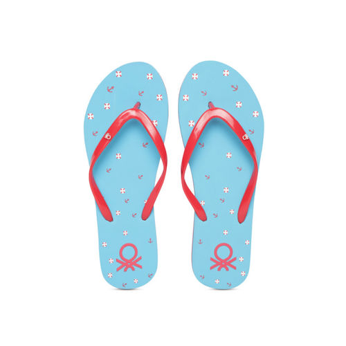 United Colors of Benetton Women Red & Blue Printed Thong Flip-Flops
