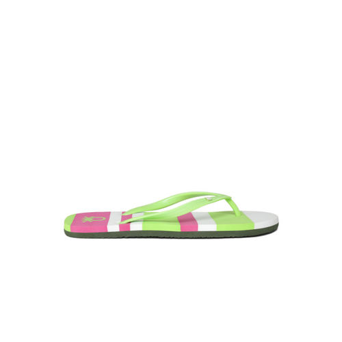 United Colors of Benetton Women Green & Pink Striped Thong Flip-Flops