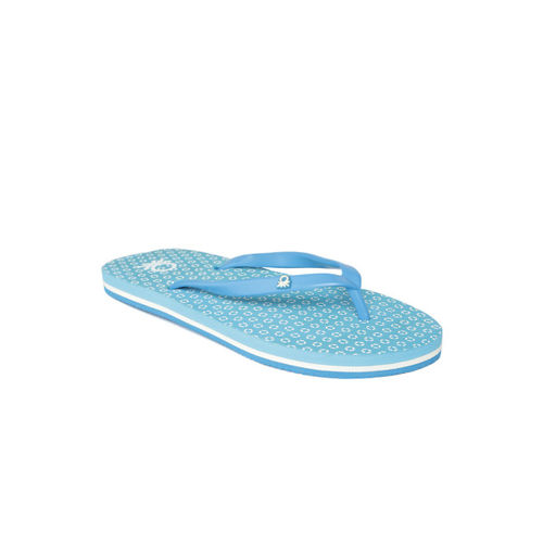 United Colors of Benetton Women Blue Printed Thong Flip-Flops