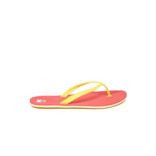 United Colors of Benetton Women Mustard Yellow & Coral Pink Thong Flip-Flops