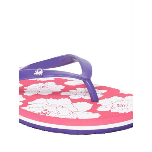 United Colors of Benetton Women Purple & Pink Printed Thong Flip-Flops