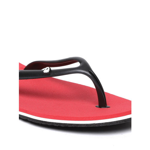 United Colors of Benetton Women Black & Red Solid Thong Flip-Flops