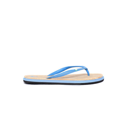 United Colors of Benetton Women Blue & Beige Printed Thong Flip-Flops