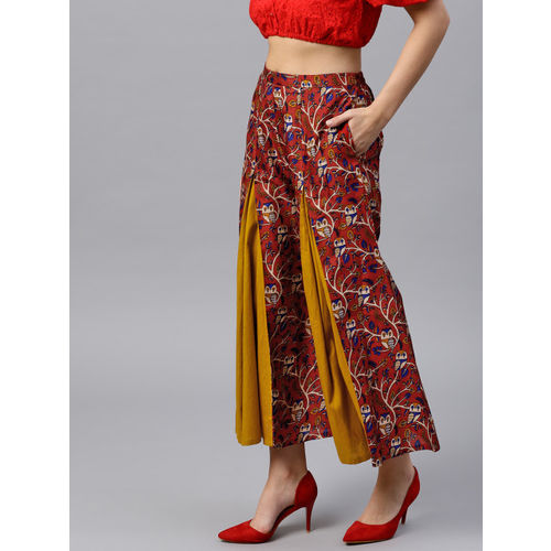 GERUA Women Red & Mustard Yellow Printed Flared Palazzos