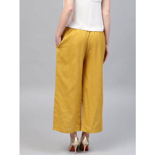 GERUA Women Mustard Yellow Wide Leg Solid Palazzos