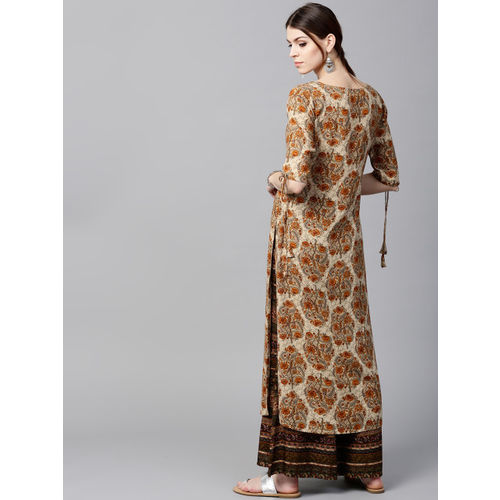 GERUA Women Cream-Coloured & Olive Green Printed Kurta with Palazzos