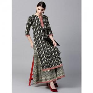 GERUA Black Cotton Printed Kurta with Skirt
