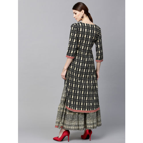 GERUA Black Cotton Printed Kurta with Skirt