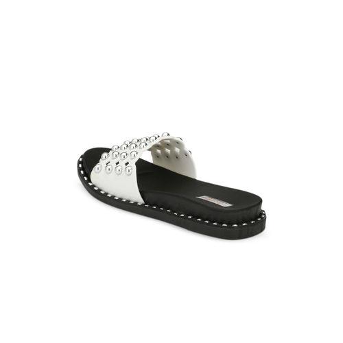 Zachho Women White Embellished Slip-On flipflops