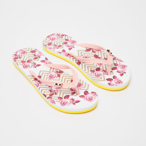 Ginger by lifestyle Printed Thong-Strap Flip Flops