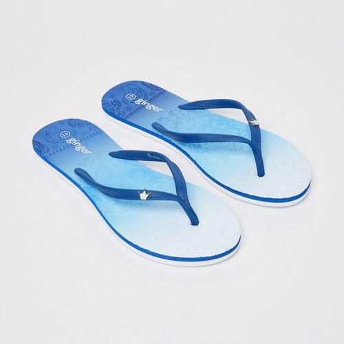 Ginger by Lifestyle Women Blue Rubber Slip-on Flat Flip Flops