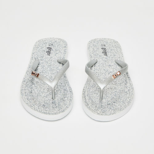 Ginger by Lifestyle Silver-Toned Embellished Thong Flip-Flops