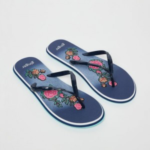 Ginger by Lifestyle Women Navy Blue Printed Thong Flip-Flops