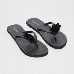 Ginger by Lifestyle Black Rubber Slip-on Flat Flip Flops