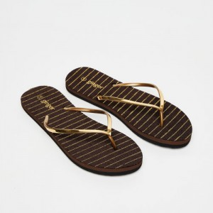 Ginger by Lifestyle Gold-Toned Solid Thong Flip-Flops