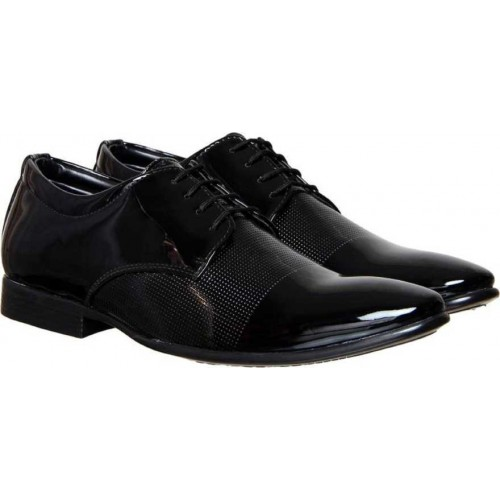 TR Black Patent Leather Lace Up Formal Shoes