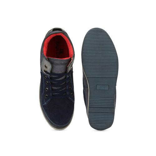 Eego Italy Men Navy Blue Colourblocked High-Top Sneakers