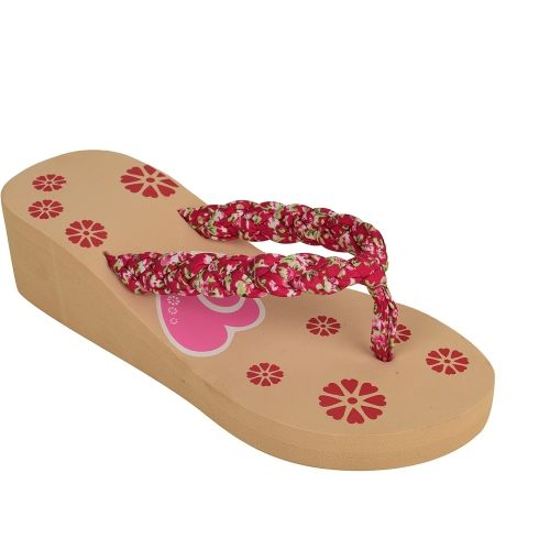 Visteria Beige & Pink Rubber Wedges Slippers