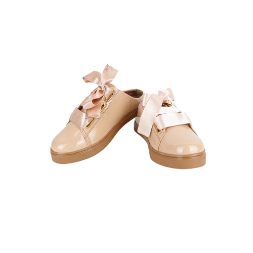 Shoetopia Beige Lace Up Synthetic Sneakers