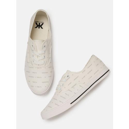 Kook N Keech Men White Printed Sneakers