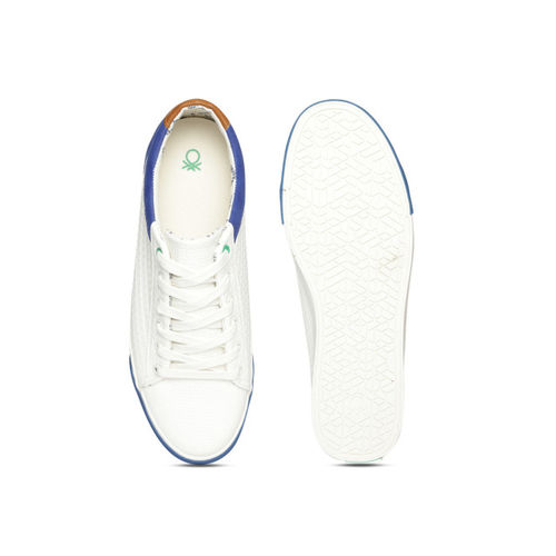 United Colors of Benetton Men White & Blue Textured Sneakers