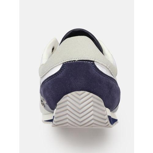 Mast & Harbour Men White & Blue Colourblocked Sneakers