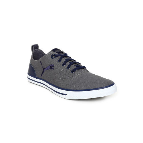 Puma Grey Polyurethane Lace Up Sneakers