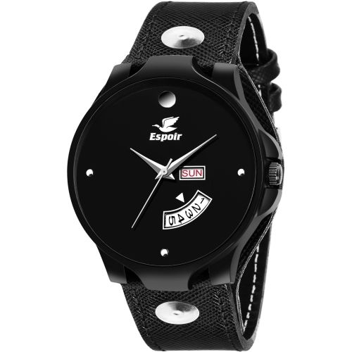 Espoir Analogue Black Dial Unique Strap Day and Date Watch