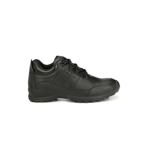 Eego Italy Men Black Solid Synthetic Leather Mid-Top Trekking Shoes