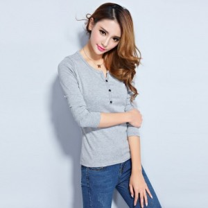Vivient Grey Plain Three Button Full Sleeve Tee