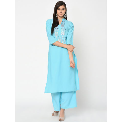ZIYAA Women Blue Printed Straight Kurta