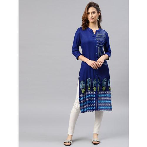 Alena Women Blue Printed Straight Kurta