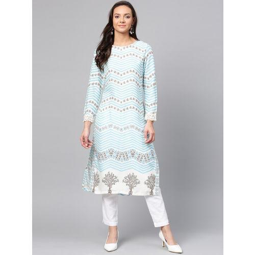 W Women Blue & White Printed Straight Kurta