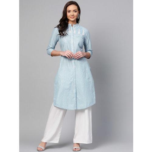 W Women Blue & Silver Printed Straight Kurta